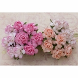 Mixed Pink Paper Cottage Roses  3cm - 4 ks