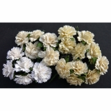Mixed White and Cream Carnation Flowers  2,5 cm - 4 ks