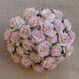 2-tone Baby Pink/Ivory Open Roses 15mm - 5 ks