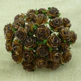 2-tone Chocolate Brown Open Roses 15mm - 5 ks