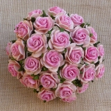 2-tone Baby Pink Open Roses 20mm - 5 ks