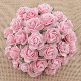 Pale Pink Open Roses 25mm - 5 ks