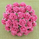 Pink Open Roses 25mm - 5 ks
