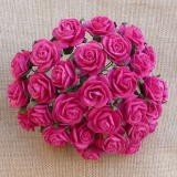 Fuchsia Pink Open Roses 25mm - 5 ks