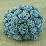 Baby Blue Open Roses 25mm - 5 ks