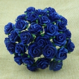Royal Blue Open Roses 25mm - 5 ks