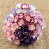 Mixed Purple/Lilac Sweetheart Blossom Flowers 15mm - 10 ks