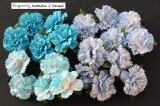 Mixed Blue Carnation Flowers 25mm - 4 ks