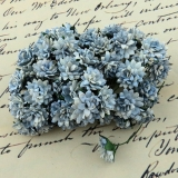 2-Tone Antique Blue Aster Daisy Stem Flower 15mm - 5 ks
