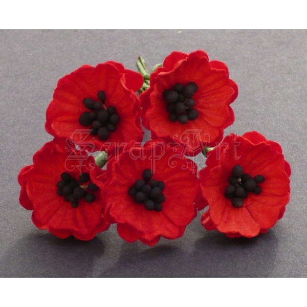 Red Poppy Flowers 2 cm - 5 ks