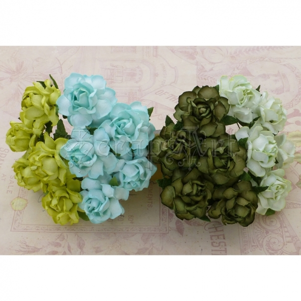 Mixed Green Tone Paper Cottage Roses  3cm - 4 ks
