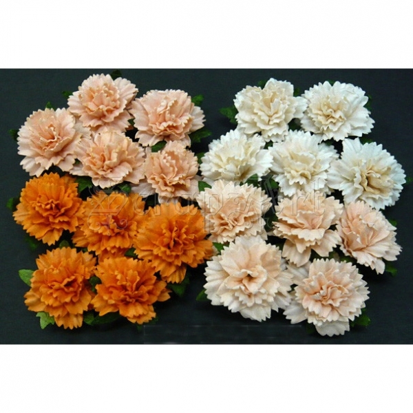 Mixed Peach Orange Carnation Flowers 2,5 cm - 4 ks