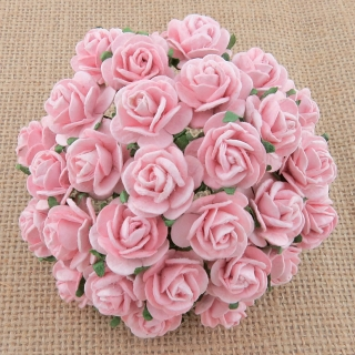 Pale Pink Open Roses 15mm - 5 ks