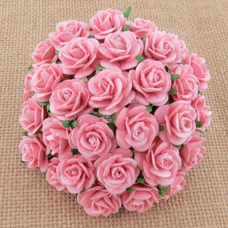 Baby Pink Open Roses 20mm - 5 ks