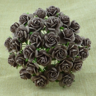 Walnut Open Roses 20mm - 5 ks