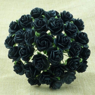 Jet Black Open Roses 20mm - 5 ks