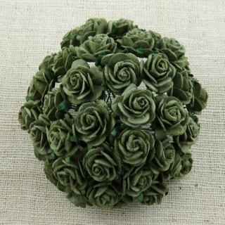 Olive Green Open Roses 20mm - 5 ks