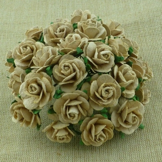 Light Mocha Open Roses 20mm - 5 ks