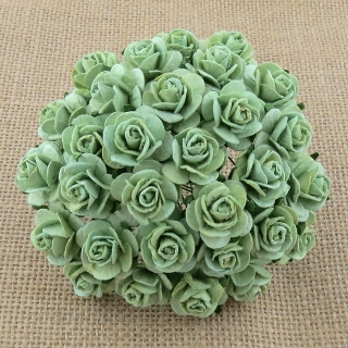 Mint Green Open Roses 20mm - 5 ks