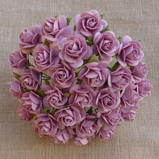 Rose Pink Open Roses 25mm - 5 ks