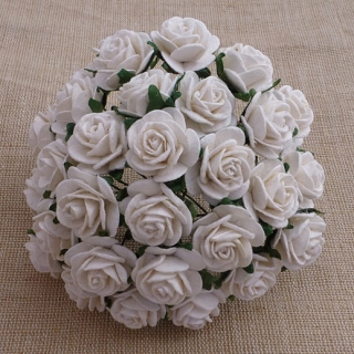 White Open Roses 25mm - 5 ks