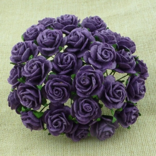 Purple Open Roses 25mm - 5 ks