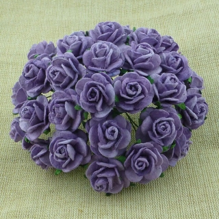 Lavender Open Roses 25mm - 5 ks