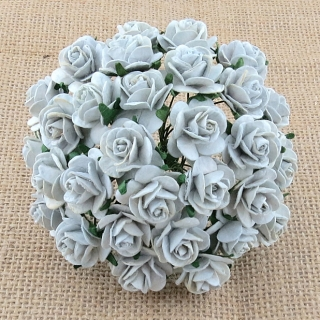 Silver Greyl Open Roses 25mm - 5 ks