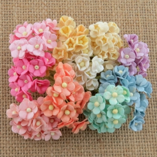 Mixed Pastel Sweetheart Blossom Flowers 10mm - 10 ks