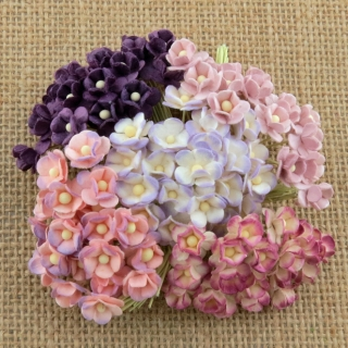 Mixed Purple/Lilac Sweetheart Blossom Flowers 10mm - 10 ks