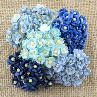 Mixed Blue Sweetheart Blossom Flowers 10mm - 10 ks