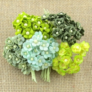 Mixed Green Sweetheart Blossom Flowers 10mm - 10 ks