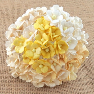 Mixed White/Cream Sweetheart Blossom Flowers 15mm - 10 ks