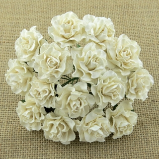 Ivory Tuscany Roses 30mm - 5 ks