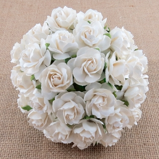 White Wild Roses 30mm - 5 ks