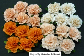 Mixed Peach/Orange Carnation Flowers 25mm - 4 ks