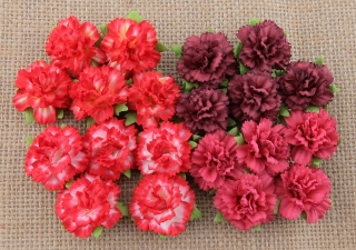 Mixed Red Carnation Flowers 25mm - 4 ks