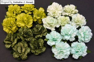Mixed Green Carnation Flowers 25mm - 4 ks