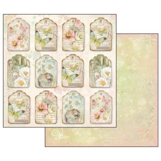 Flowers and Butterflies Fastener 12x12""