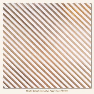 Stripe/Metalic Foiled Vellum Sheet 12x12""